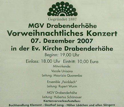 MGV Drabenderhöhe: Vorweihnachtliches Konzert