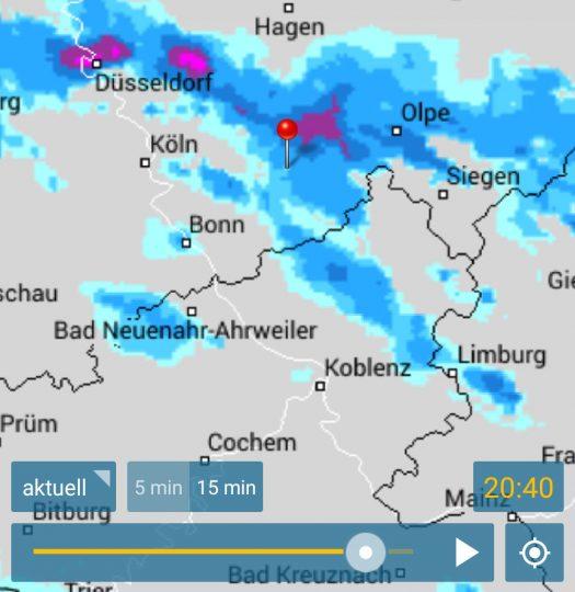 Laut Regenradar ist in Drabenderhöhe gegen 20:40 Uhr mit dem Höhepunkt des Unwetters zu rechnen