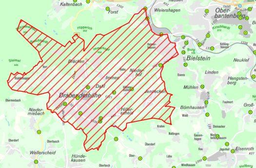 Das festgelegte Sperrgebiet rund um Drabenderhöhe. Quelle: www.obk.de/sperrbezirk1