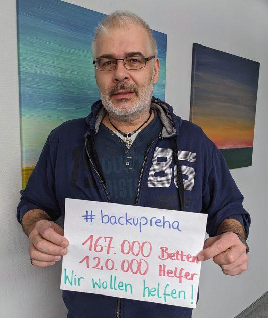 Mit dem Hashtag #BackupReha appellieren Mitarbeiter/innen aller Kliniken der Dr. Becker Klinikgruppe an die Politik, das vorgestellte Gesetz nachzubessern, damit der aktuelle Leerstand in den Rehakliniken finanziert wird. Sie freuen sich über Unterstützung. Foto: Dr. Becker Klinikgruppe
